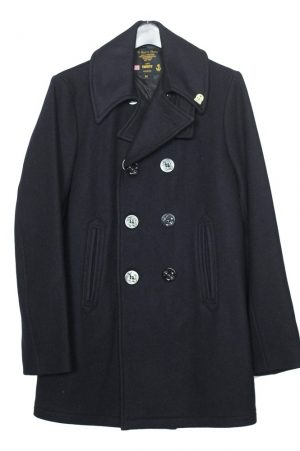 Men's Wool Fidelity Long Peacoat Double Breasted 6 Button With Satin Lining