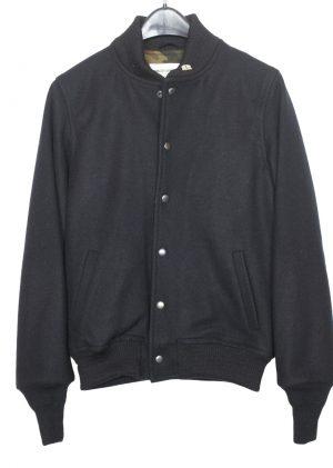 Men's Wool Fidelity Varsity Short Bomber Jacket – Front Snaps – Camouflage Lining