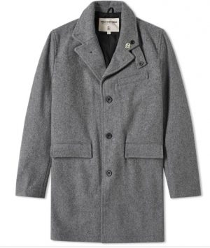 Men's Classic Wool Long Coat – Horizontal Pockets – Single Breasted – Satin Lining