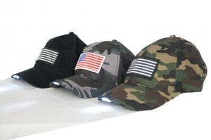 US Flag Baseball Cap With LED Light- USB Chargeable – Variety 6 Pack