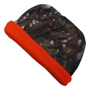 Hunting Camo / Orange Reversible Knit Beanie Hat Cap