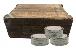 GI Dated 1944 US Military WWII Impregnite Shoe Waterproofing And Protection – In Original Wooden Crate – Case Of 48