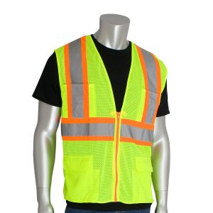 PIP Class 2 Mesh Two-Tone Surveyor Safety Vest With Seven Pockets & Zipper Closure
